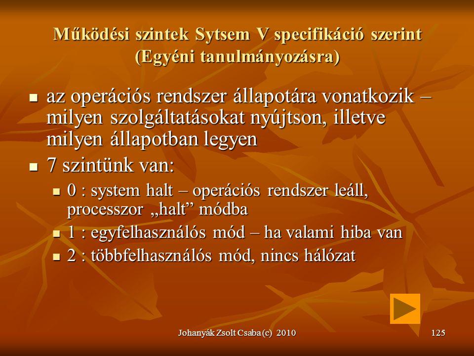 Johanyák Zsolt Csaba (c) 2010125 Működési szintek Sytsem V specifikáció szerint (Egyéni tanulmányozásra)  az operációs rendszer állapotára vonatkozik