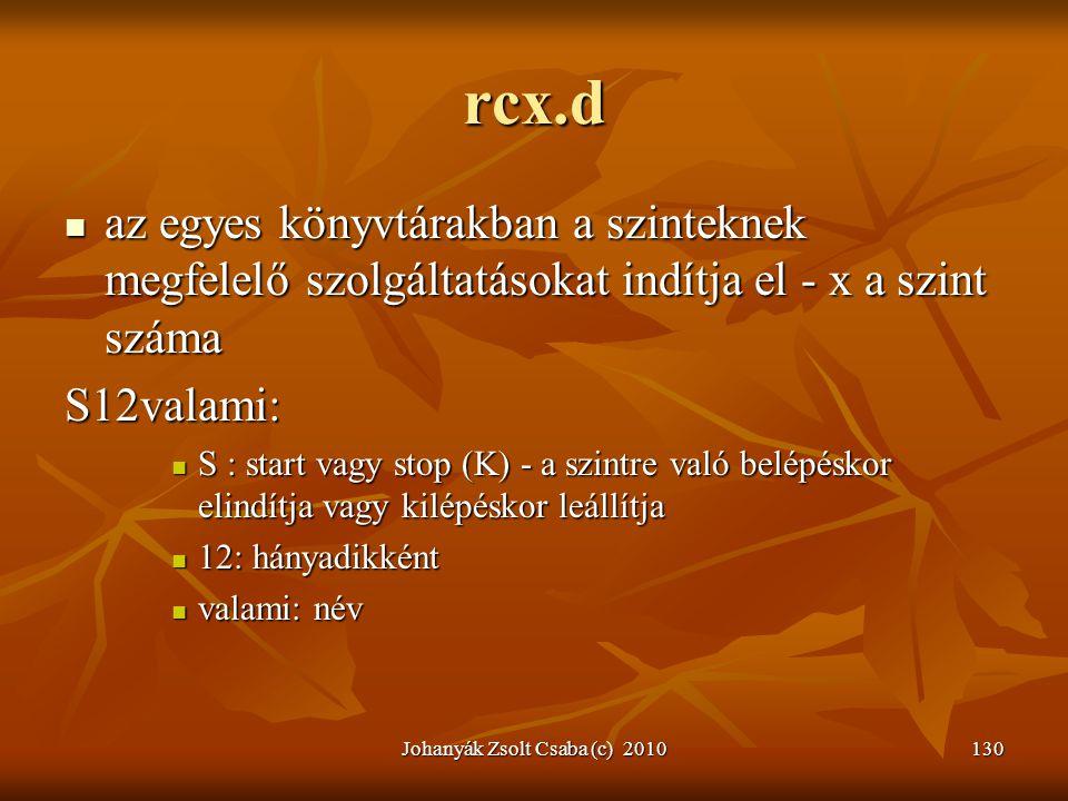 Johanyák Zsolt Csaba (c) 2010130 rcx.d  az egyes könyvtárakban a szinteknek megfelelő szolgáltatásokat indítja el - x a szint száma S12valami:  S :