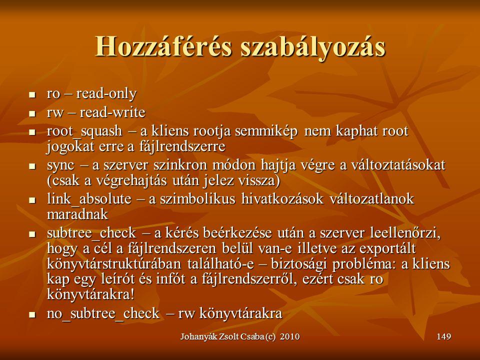 Johanyák Zsolt Csaba (c) 2010149 Hozzáférés szabályozás  ro – read-only  rw – read-write  root_squash – a kliens rootja semmikép nem kaphat root jo