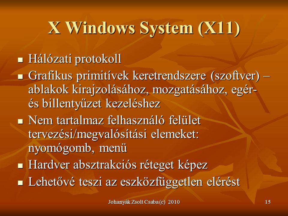X Windows System (X11)  Hálózati protokoll  Grafikus primitívek keretrendszere (szoftver) – ablakok kirajzolásához, mozgatásához, egér- és billentyű