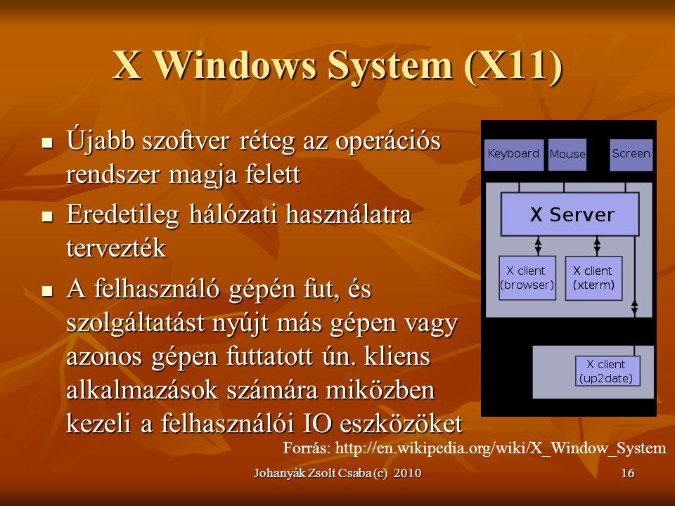 X Windows System (X11)  Újabb szoftver réteg az operációs rendszer magja felett  Eredetileg hálózati használatra tervezték  A felhasználó gépén fut