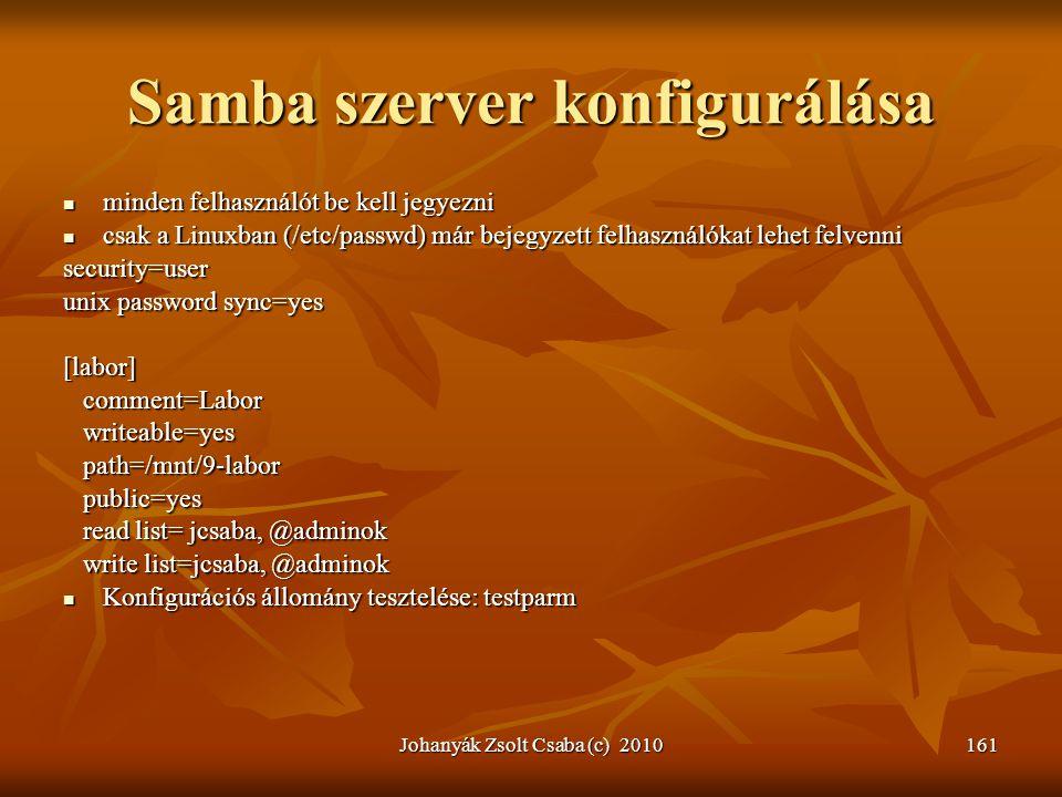 Johanyák Zsolt Csaba (c) 2010161 Samba szerver konfigurálása  minden felhasználót be kell jegyezni  csak a Linuxban (/etc/passwd) már bejegyzett fel