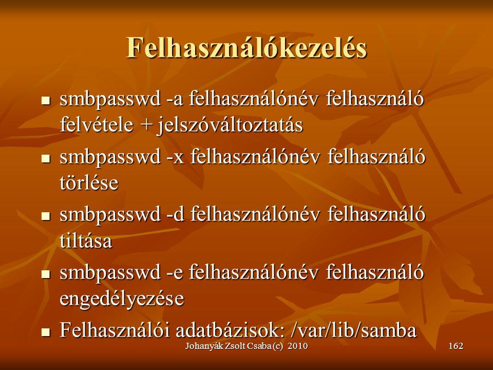Johanyák Zsolt Csaba (c) 2010162 Felhasználókezelés  smbpasswd -a felhasználónév felhasználó felvétele + jelszóváltoztatás  smbpasswd -x felhasználó