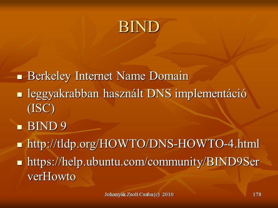 Johanyák Zsolt Csaba (c) 2010178 BIND  Berkeley Internet Name Domain  leggyakrabban használt DNS implementáció (ISC)  BIND 9  http://tldp.org/HOWT