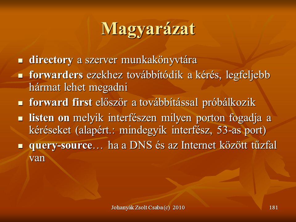 Johanyák Zsolt Csaba (c) 2010181 Magyarázat  directory a szerver munkakönyvtára  forwarders ezekhez továbbítódik a kérés, legfeljebb hármat lehet me