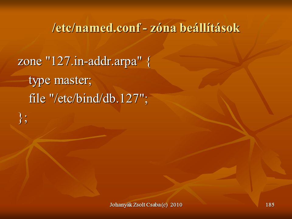Johanyák Zsolt Csaba (c) 2010185 /etc/named.conf - zóna beállítások zone