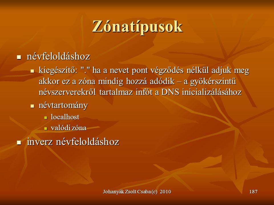 Johanyák Zsolt Csaba (c) 2010187 Zónatípusok  névfeloldáshoz  kiegészítő: