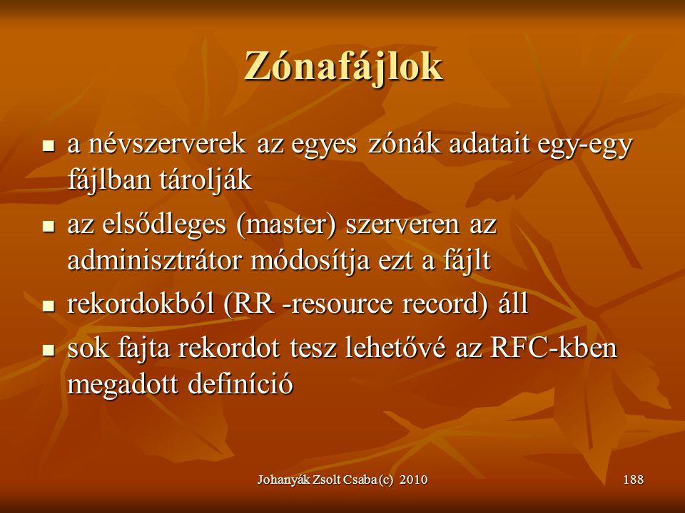 Johanyák Zsolt Csaba (c) 2010188 Zónafájlok  a névszerverek az egyes zónák adatait egy-egy fájlban tárolják  az elsődleges (master) szerveren az adm