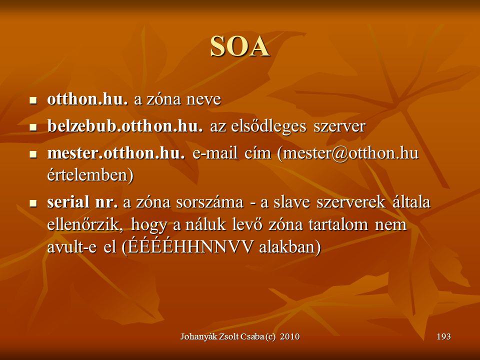 Johanyák Zsolt Csaba (c) 2010193 SOA  otthon.hu. a zóna neve  belzebub.otthon.hu. az elsődleges szerver  mester.otthon.hu. e-mail cím (mester@ottho