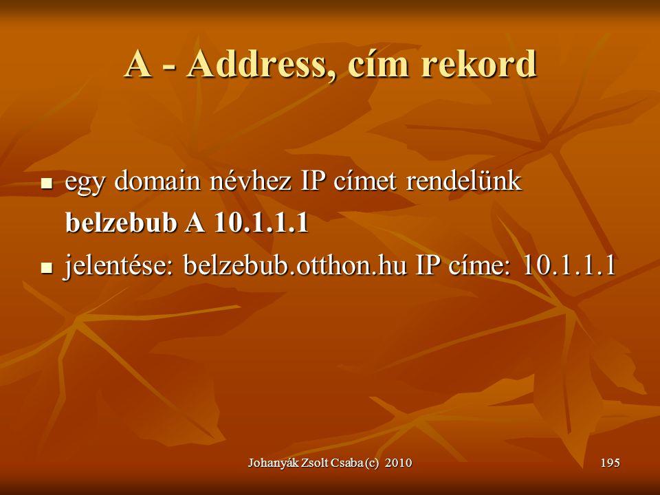 Johanyák Zsolt Csaba (c) 2010195 A - Address, cím rekord  egy domain névhez IP címet rendelünk belzebub A 10.1.1.1  jelentése: belzebub.otthon.hu IP