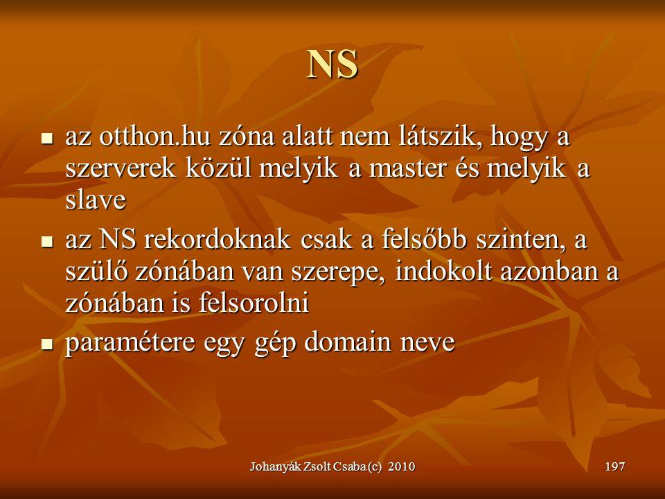Johanyák Zsolt Csaba (c) 2010197 NS  az otthon.hu zóna alatt nem látszik, hogy a szerverek közül melyik a master és melyik a slave  az NS rekordokna