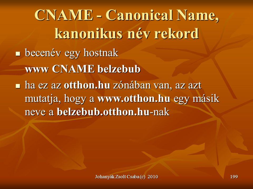 Johanyák Zsolt Csaba (c) 2010199 CNAME - Canonical Name, kanonikus név rekord  becenév egy hostnak www CNAME belzebub  ha ez az otthon.hu zónában va