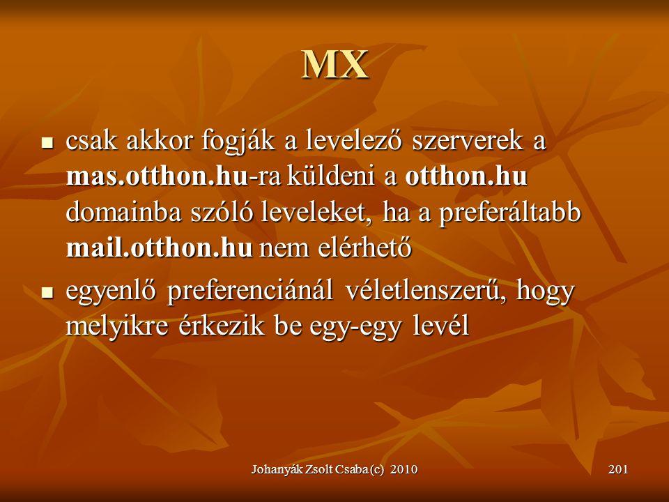 Johanyák Zsolt Csaba (c) 2010201 MX  csak akkor fogják a levelező szerverek a mas.otthon.hu-ra küldeni a otthon.hu domainba szóló leveleket, ha a pre