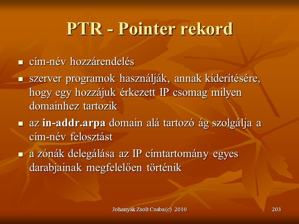 Johanyák Zsolt Csaba (c) 2010203 PTR - Pointer rekord  cím-név hozzárendelés  szerver programok használják, annak kiderítésére, hogy egy hozzájuk ér