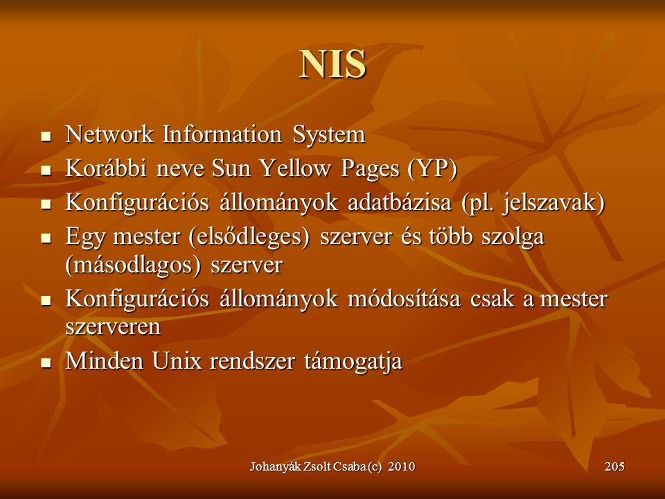 Johanyák Zsolt Csaba (c) 2010205 NIS  Network Information System  Korábbi neve Sun Yellow Pages (YP)  Konfigurációs állományok adatbázisa (pl. jels