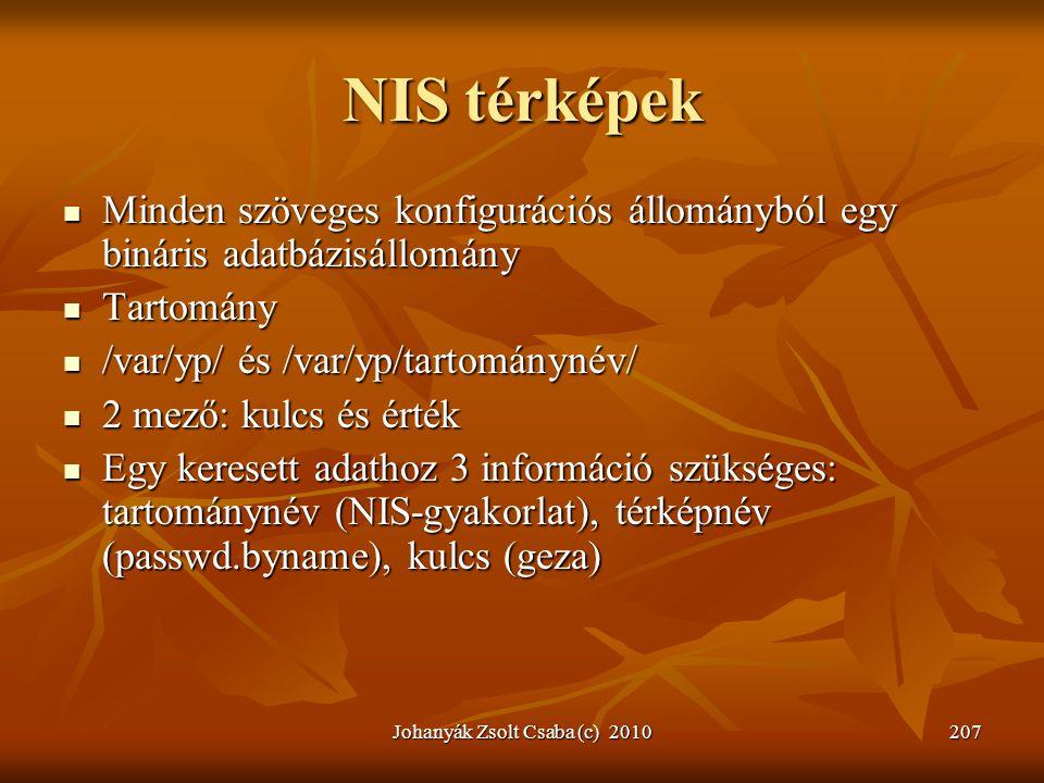 Johanyák Zsolt Csaba (c) 2010207 NIS térképek  Minden szöveges konfigurációs állományból egy bináris adatbázisállomány  Tartomány  /var/yp/ és /var