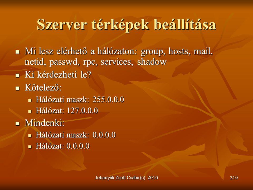 Johanyák Zsolt Csaba (c) 2010210 Szerver térképek beállítása  Mi lesz elérhető a hálózaton: group, hosts, mail, netid, passwd, rpc, services, shadow