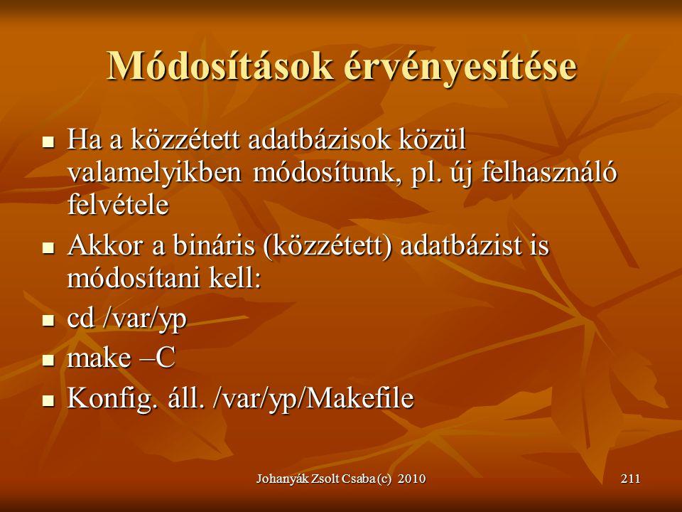 Johanyák Zsolt Csaba (c) 2010211 Módosítások érvényesítése  Ha a közzétett adatbázisok közül valamelyikben módosítunk, pl. új felhasználó felvétele 
