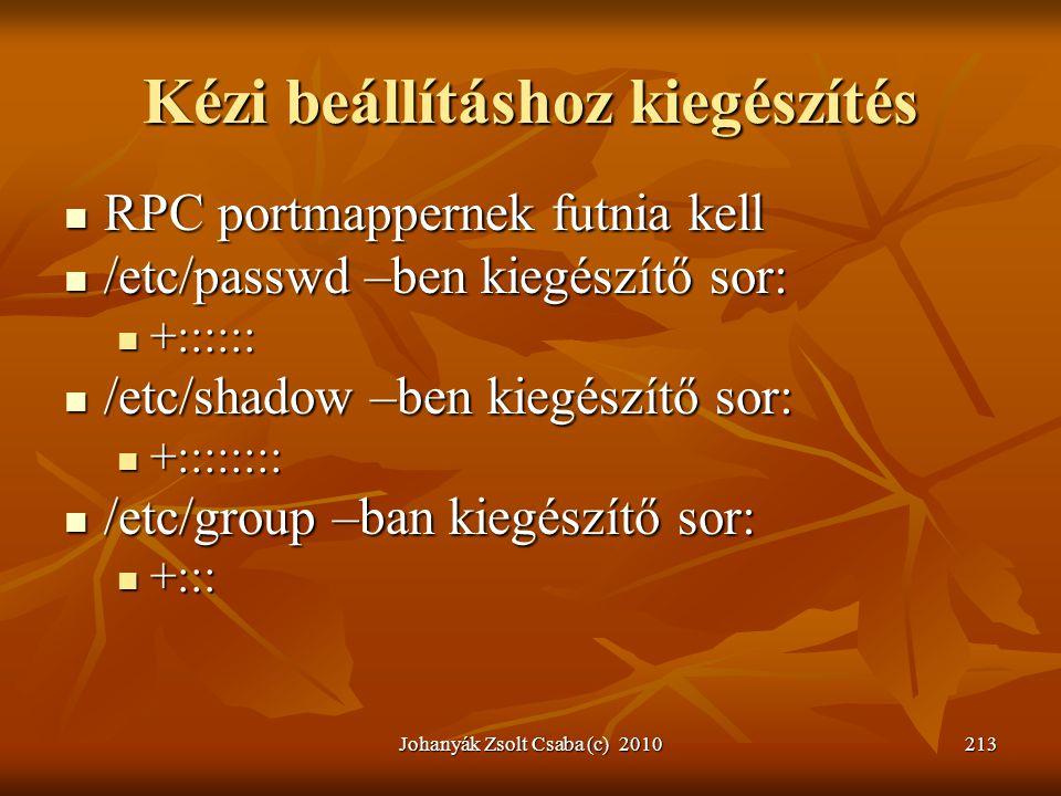 Johanyák Zsolt Csaba (c) 2010213 Kézi beállításhoz kiegészítés  RPC portmappernek futnia kell  /etc/passwd –ben kiegészítő sor:  +::::::  /etc/sha