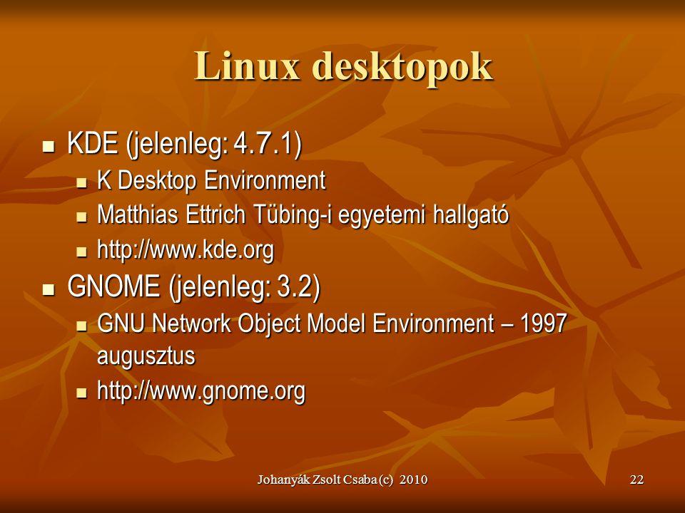 Johanyák Zsolt Csaba (c) 201022 Linux desktopok  KDE (jelenleg: 4. 7.1)  K Desktop Environment  Matthias Ettrich Tübing-i egyetemi hallgató  http: