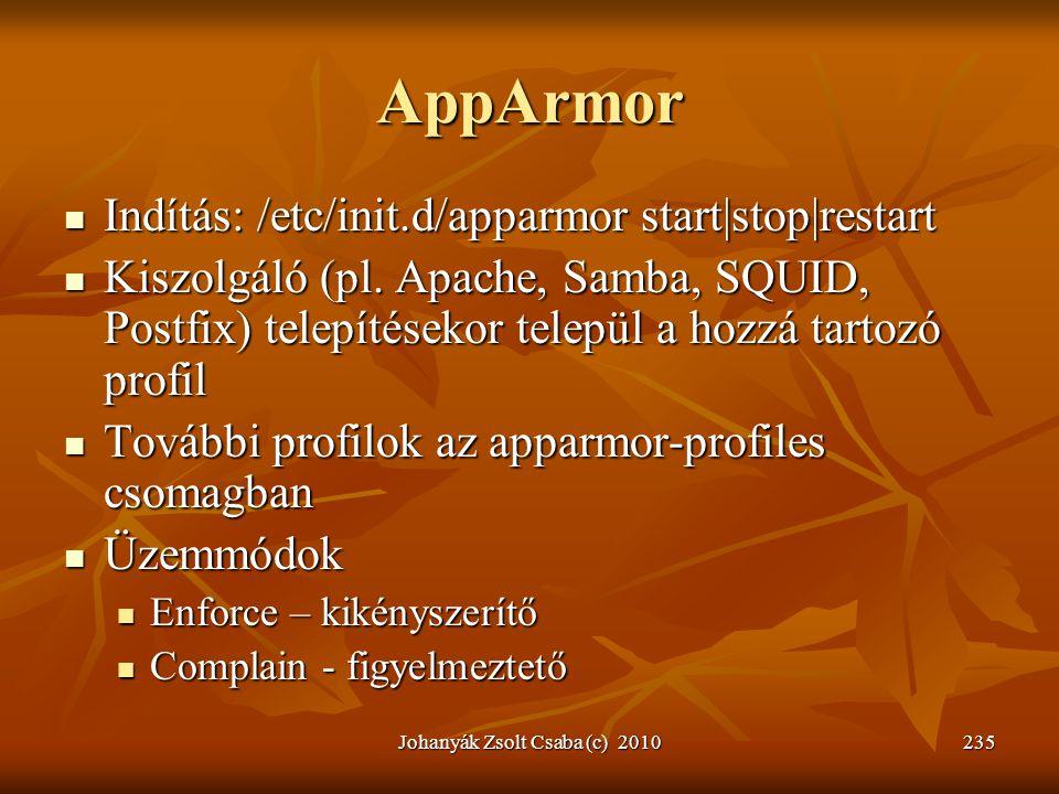 Johanyák Zsolt Csaba (c) 2010235 AppArmor  Indítás: /etc/init.d/apparmor start|stop|restart  Kiszolgáló (pl. Apache, Samba, SQUID, Postfix) telepíté