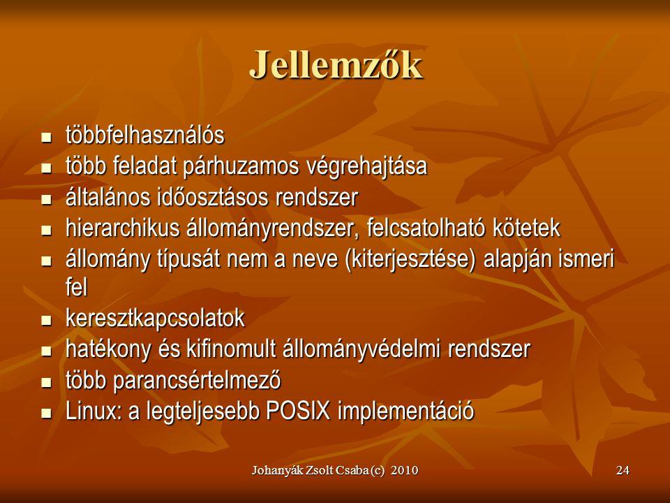 Johanyák Zsolt Csaba (c) 201024 Jellemzők  többfelhasználós  több feladat párhuzamos végrehajtása  általános időosztásos rendszer  hierarchikus ál
