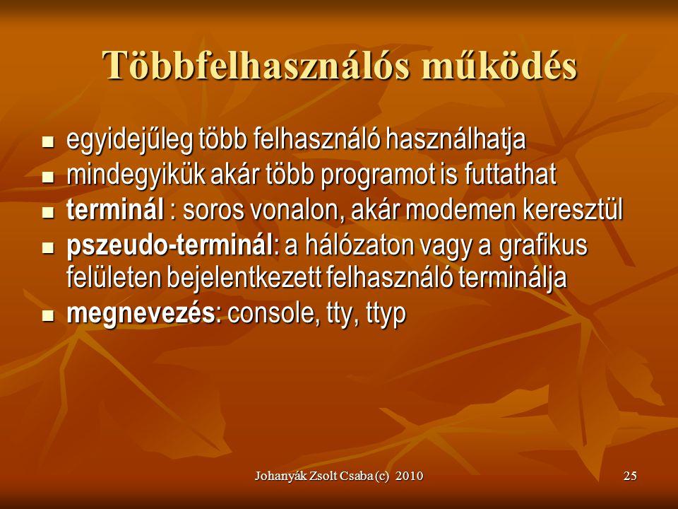 Johanyák Zsolt Csaba (c) 201025 Többfelhasználós működés  egyidejűleg több felhasználó használhatja  mindegyikük akár több programot is futtathat 