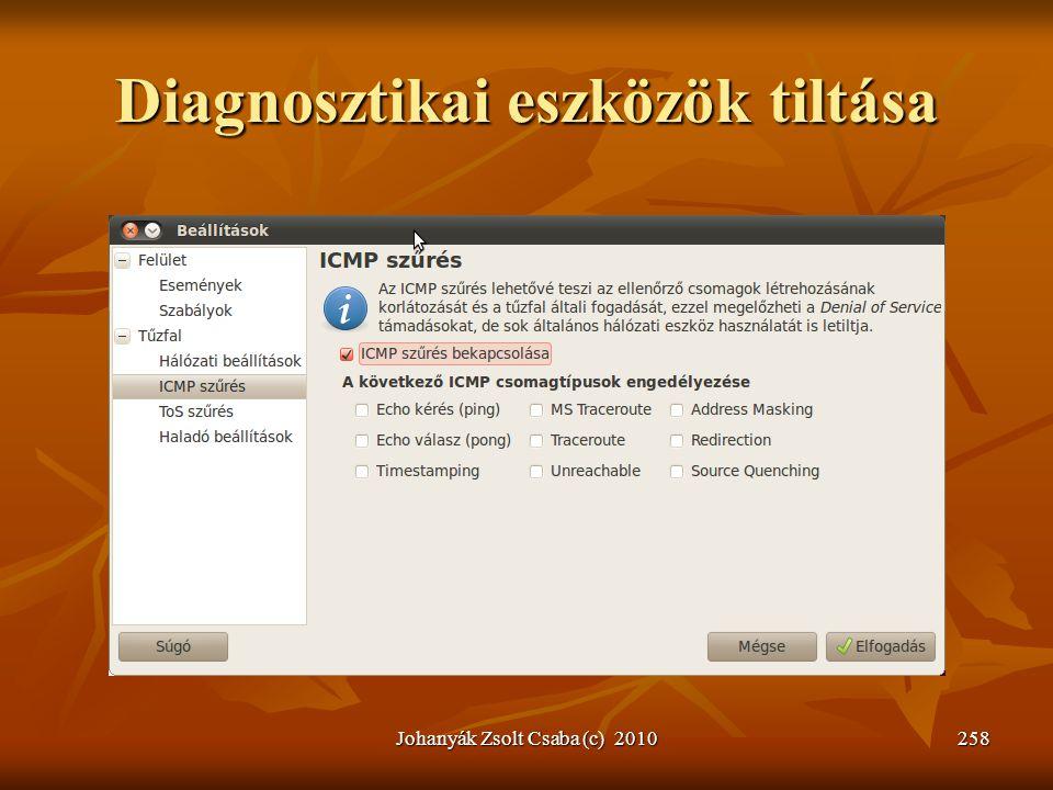 Diagnosztikai eszközök tiltása Johanyák Zsolt Csaba (c) 2010258