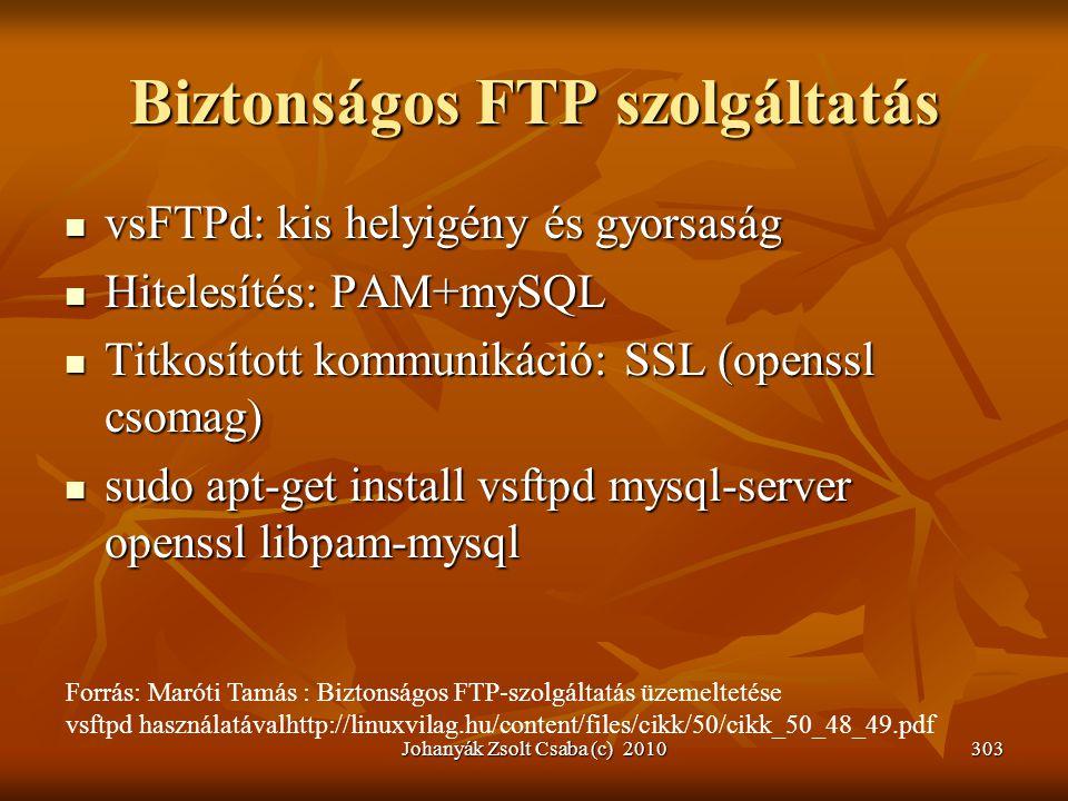 Biztonságos FTP szolgáltatás  vsFTPd: kis helyigény és gyorsaság  Hitelesítés: PAM+mySQL  Titkosított kommunikáció: SSL (openssl csomag)  sudo apt