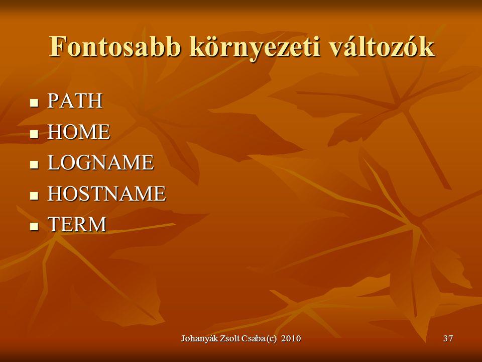 Johanyák Zsolt Csaba (c) 201037 Fontosabb környezeti változók  PATH  HOME  LOGNAME  HOSTNAME  TERM