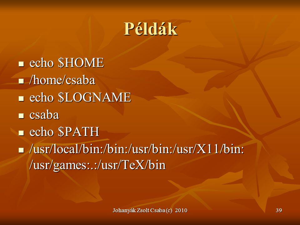 Johanyák Zsolt Csaba (c) 201039 Példák  echo $HOME  echo $HOME  /home/csaba  /home/csaba  echo $LOGNAME  echo $LOGNAME  csaba  echo $PATH  ec