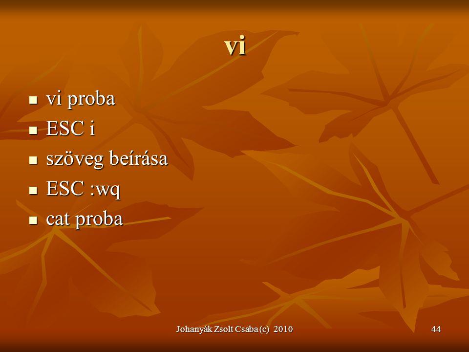 Johanyák Zsolt Csaba (c) 201044 vi  vi proba  ESC i  szöveg beírása  ESC :wq  cat proba