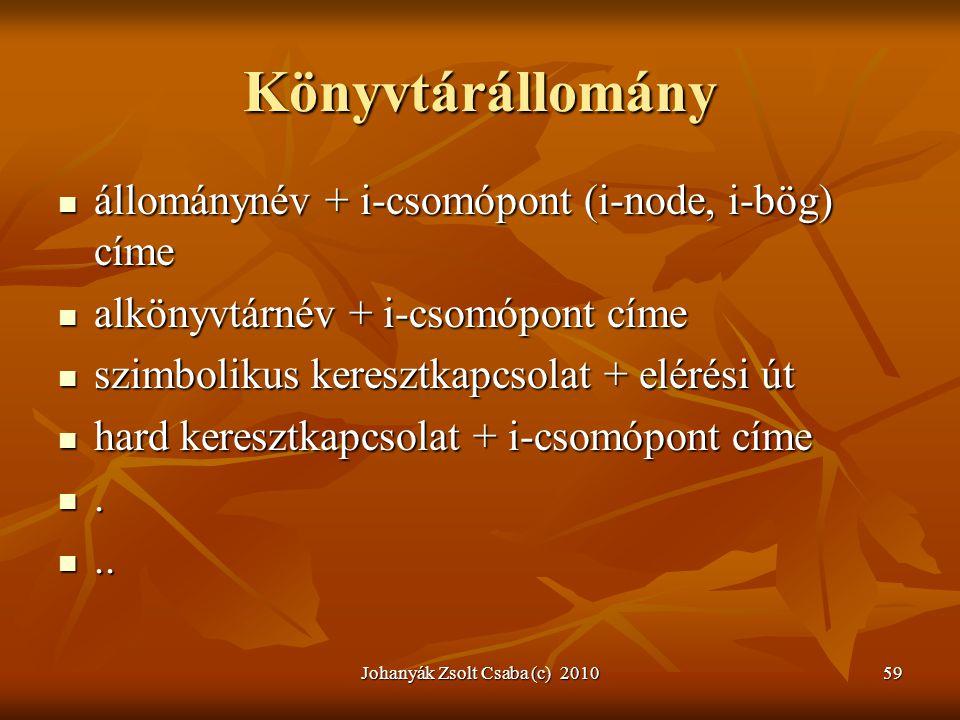 Johanyák Zsolt Csaba (c) 201059 Könyvtárállomány  állománynév + i-csomópont (i-node, i-bög) címe  alkönyvtárnév + i-csomópont címe  szimbolikus ker