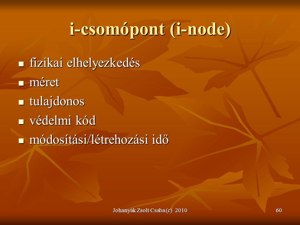 Johanyák Zsolt Csaba (c) 201060 i-csomópont (i-node)  fizikai elhelyezkedés  méret  tulajdonos  védelmi kód  módosítási/létrehozási idő