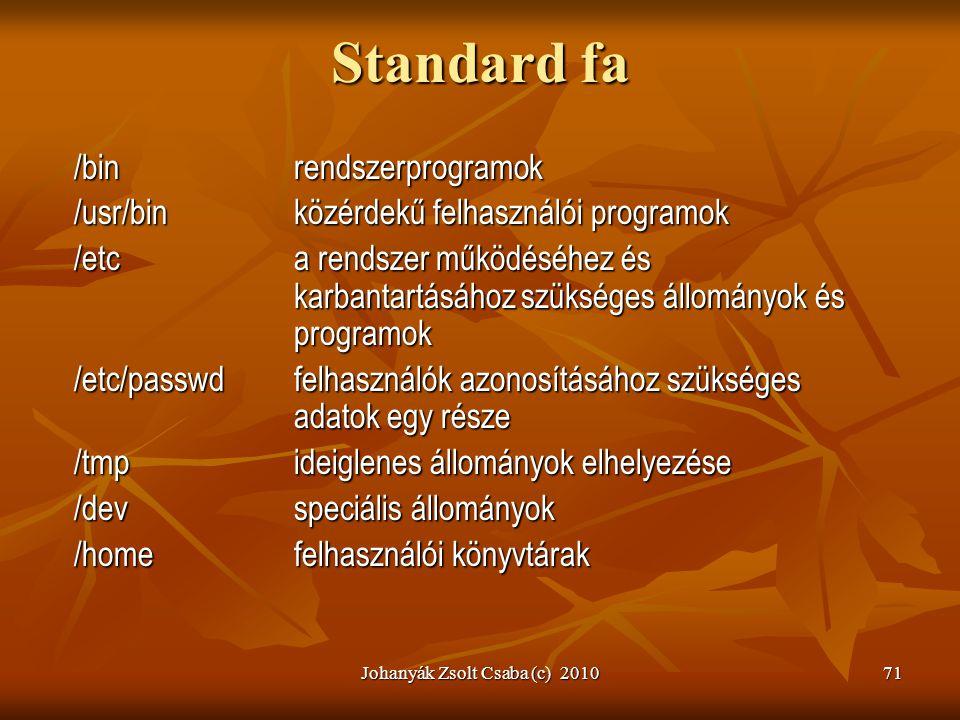 Johanyák Zsolt Csaba (c) 201071 Standard fa /binrendszerprogramok /usr/binközérdekű felhasználói programok /etca rendszer működéséhez és karbantartásá