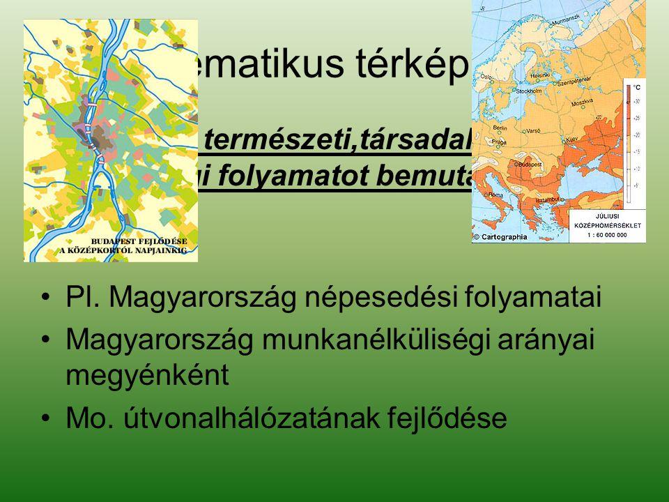 Tematikus térképek •Valamely természeti,társadalmi, gazdasági folyamatot bemutató térképek.