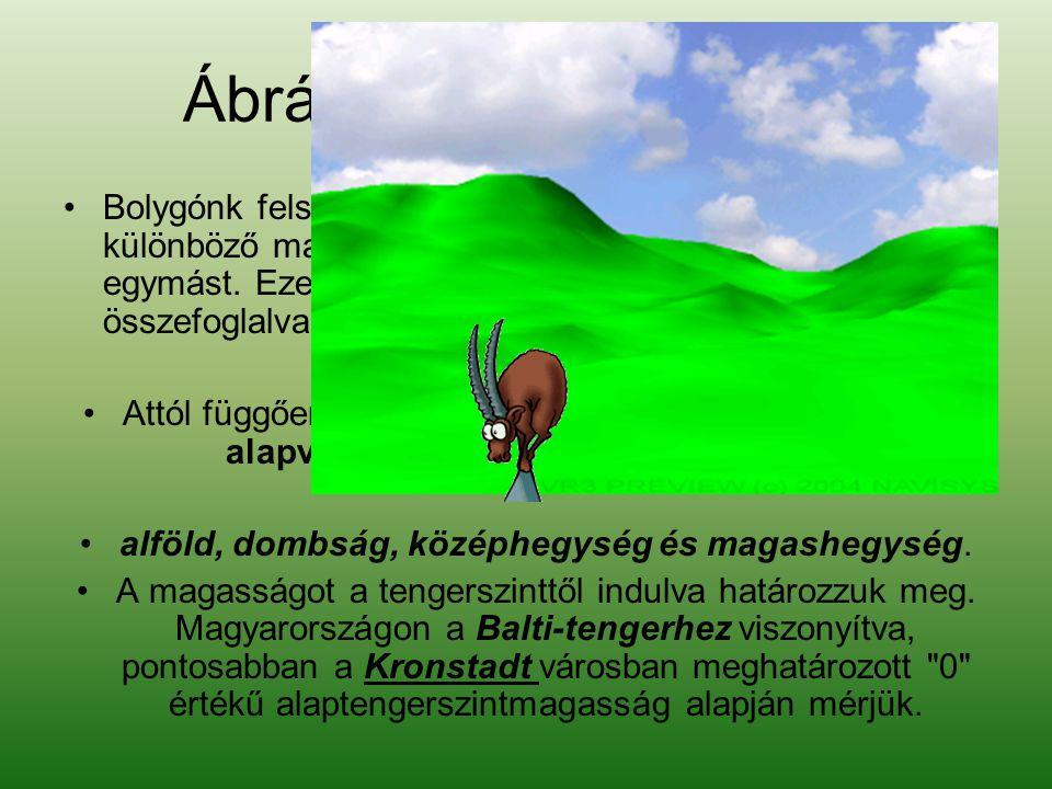 Ábrázolás módja szerint domborzatnak •Bolygónk felszíne eléggé egyenetlen: kisebb-nagyobb, különböző magasságú és formájú területek követik egymást.