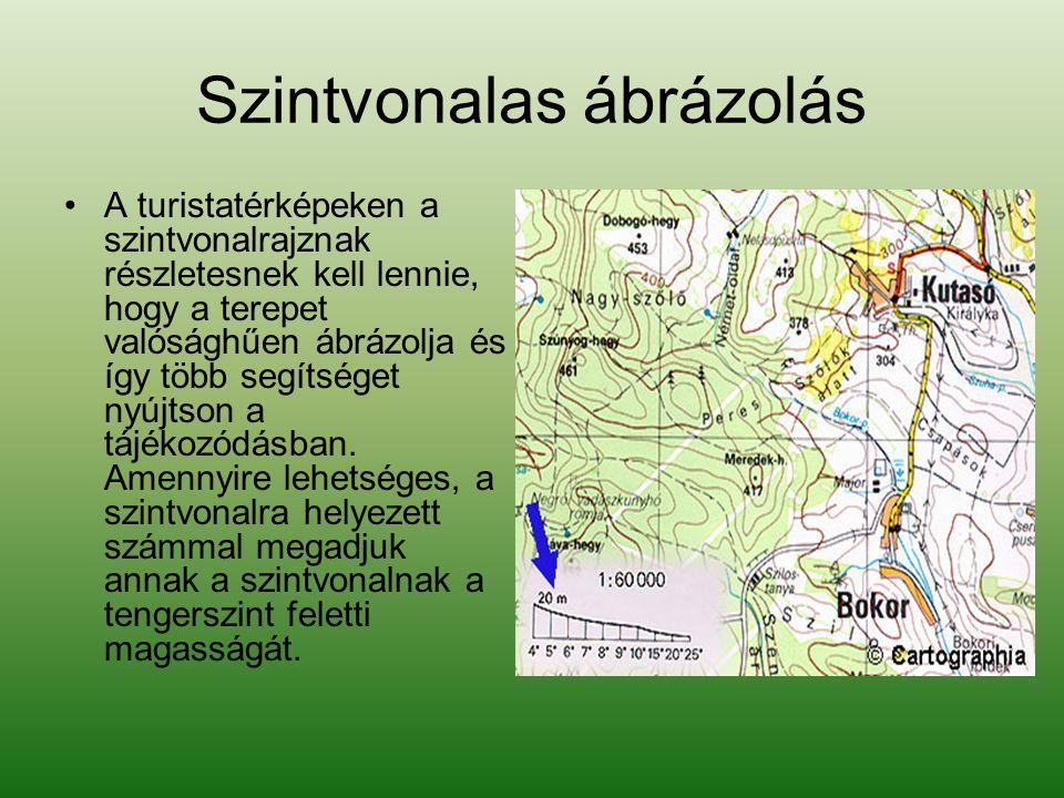 Szintvonalas ábrázolás •A turistatérképeken a szintvonalrajznak részletesnek kell lennie, hogy a terepet valósághűen ábrázolja és így több segítséget nyújtson a tájékozódásban.