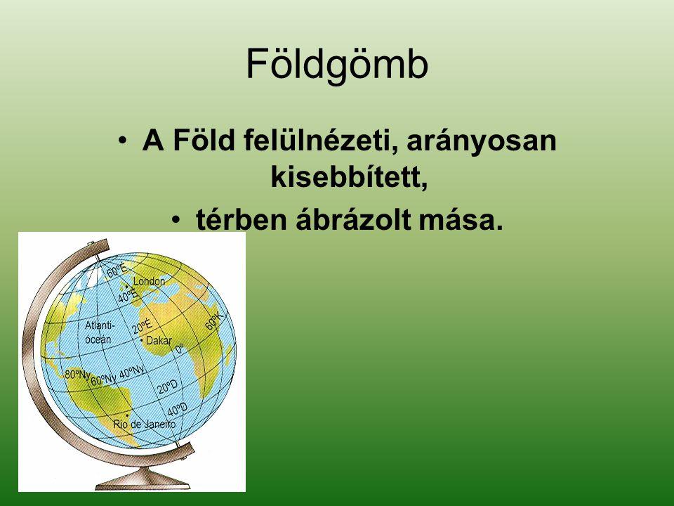 Földgömb •A Föld felülnézeti, arányosan kisebbített, •térben ábrázolt mása.
