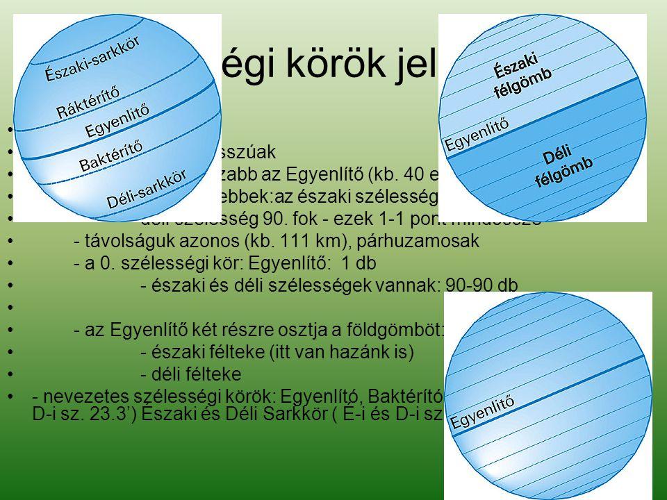 Szélességi körök jellemzése •A szélességi körök •- nem egyenlő hosszúak •- leghosszabb az Egyenlítő (kb.