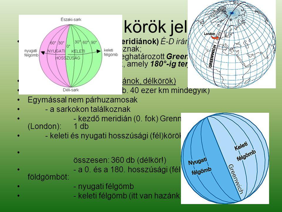 Hosszúsági körök jellemzése •A hosszúsági vonalak (meridiánok) É-D irányban futó körök, amelyek a sarkokon találkoznak; a hosszúságot a 0°-ként meghatározott Greenwich meridiántól számított távolsággal mérik, amely 180°-ig terjedhet K és Ny felé.