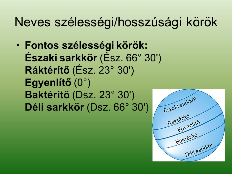 Neves szélességi/hosszúsági körök •F•Fontos szélességi körök: Északi sarkkör (Ész.