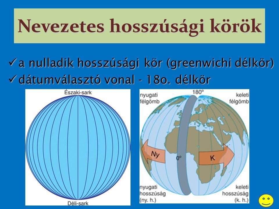 Nevezetes hosszúsági körök aaaa nulladik hosszúsági kör (greenwichi délkör) ddddátumválasztó vonal - 18o.