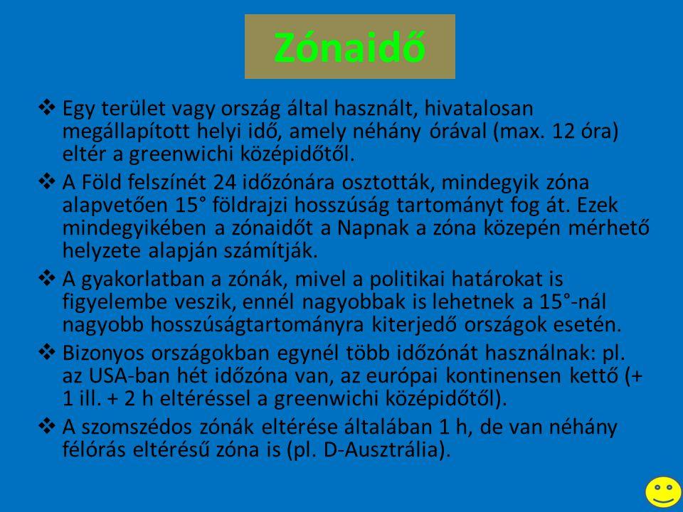 Zónaidő  Egy terület vagy ország által használt, hivatalosan megállapított helyi idő, amely néhány órával (max.
