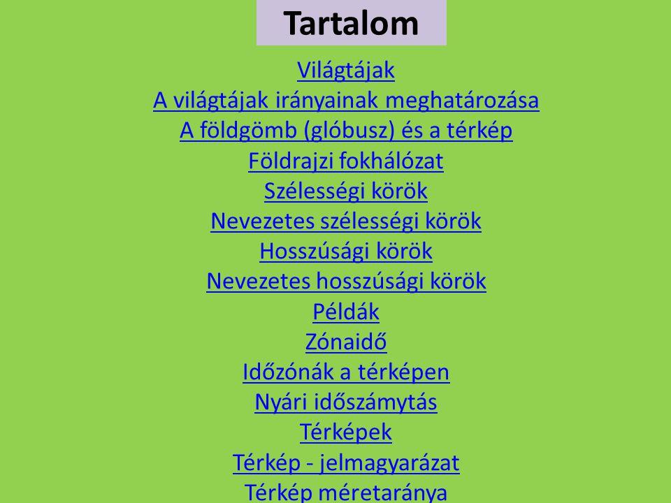 VILÁGTÁJAK A VILÁGTÁJ elnevezések használata –Szabadban az irányok meghatározására világtájak elnevezését használjuk.