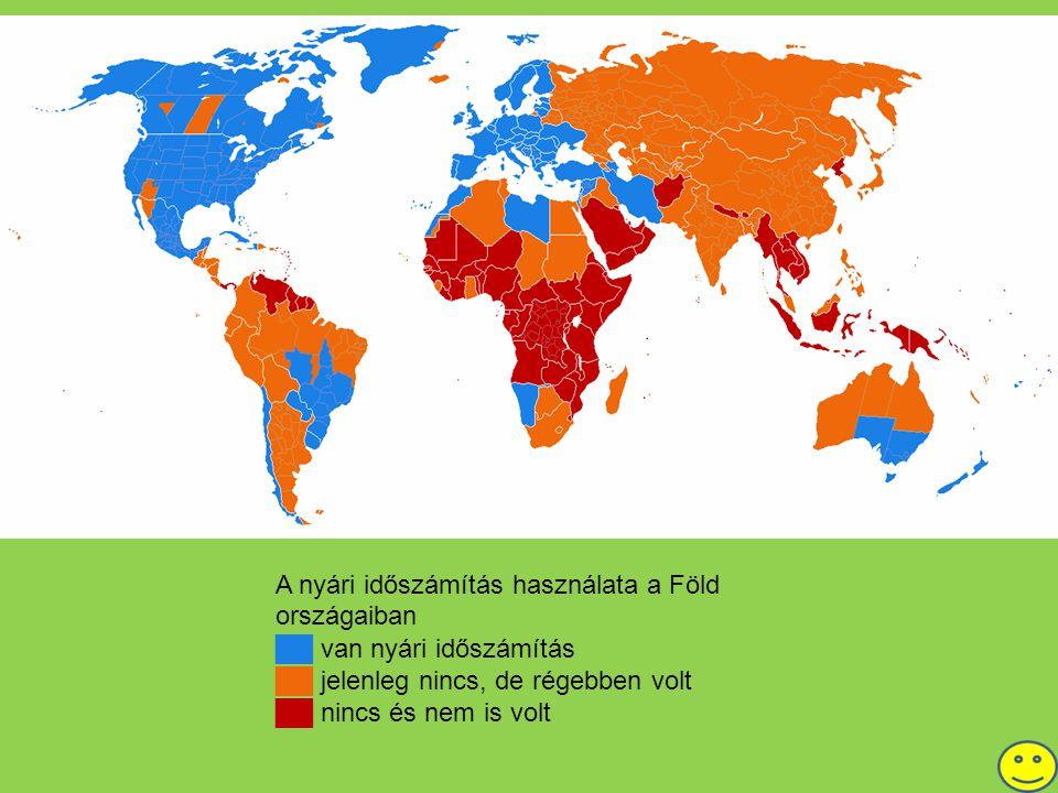 A nyári időszámítás használata a Föld országaiban ██ van nyári időszámítás ██ jelenleg nincs, de régebben volt ██ nincs és nem is volt