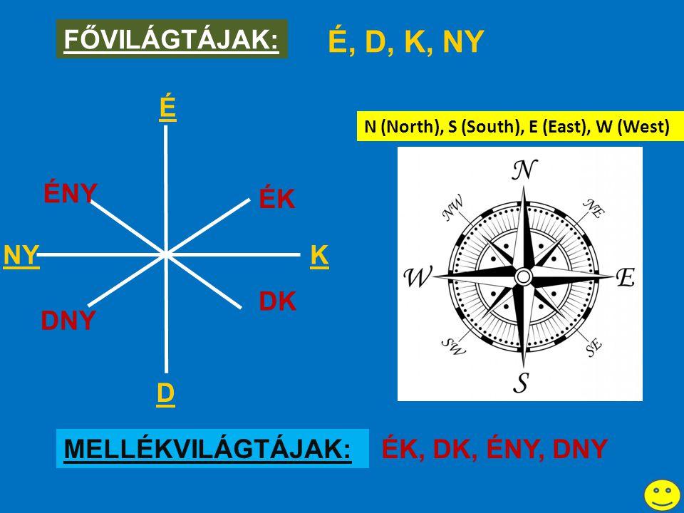 É KNY D ÉK DNY ÉNY DK FŐVILÁGTÁJAK: É, D, K, NY MELLÉKVILÁGTÁJAK:ÉK, DK, ÉNY, DNY N (North), S (South), E (East), W (West)