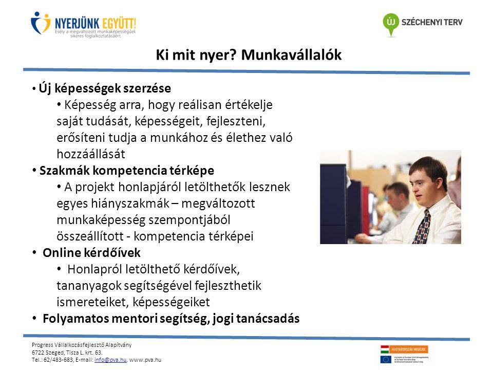 Progress Vállalkozásfejlesztő Alapítvány 6722 Szeged, Tisza L. krt. 63. Tel.: 62/483-683, E-mail: info@pva.hu, www.pva.huinfo@pva.hu Ki mit nyer? Munk