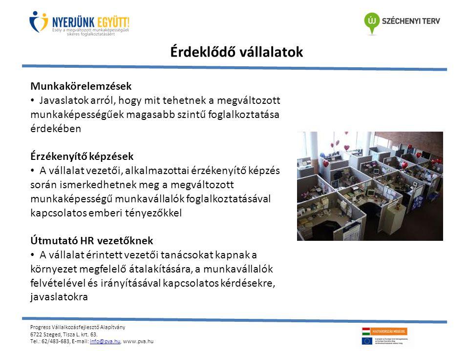 Progress Vállalkozásfejlesztő Alapítvány 6722 Szeged, Tisza L. krt. 63. Tel.: 62/483-683, E-mail: info@pva.hu, www.pva.huinfo@pva.hu Érdeklődő vállala