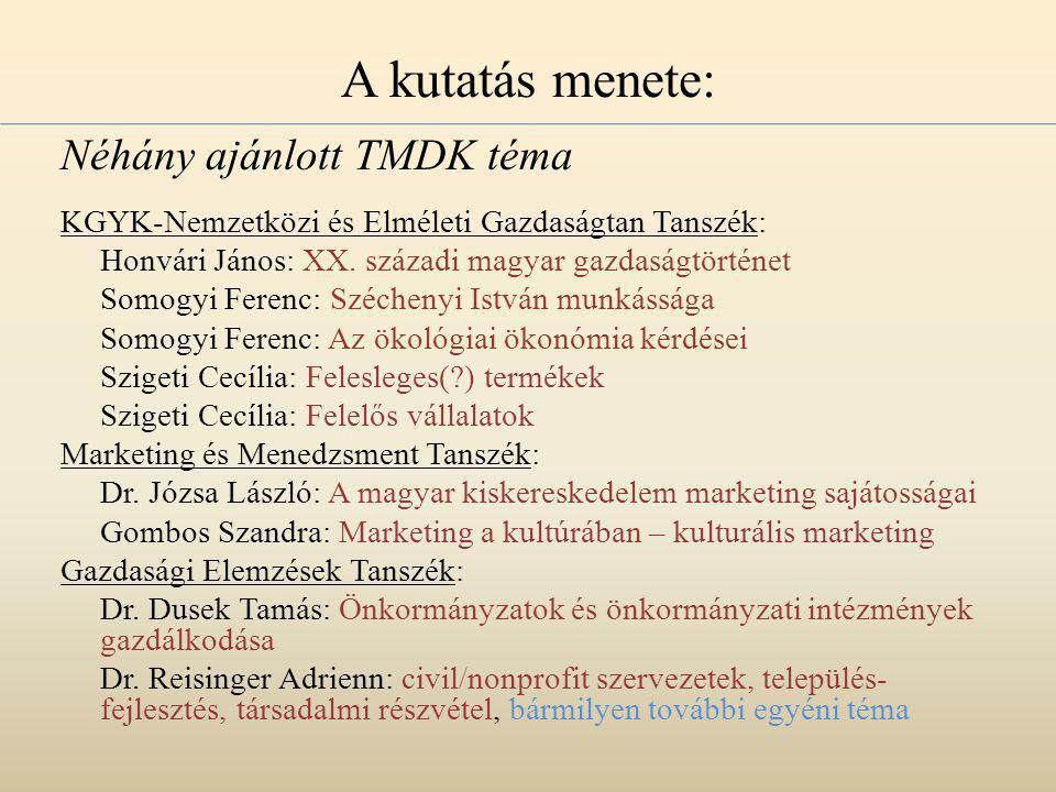 A kutatás menete: Néhány ajánlott TMDK téma KGYK-Nemzetközi és Elméleti Gazdaságtan Tanszék: Honvári János: XX.